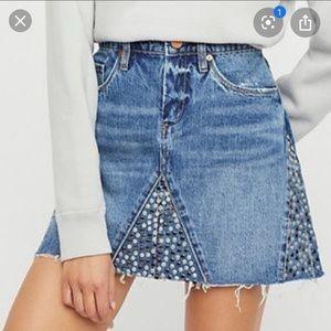 Free People Blank NYC studded denim skirt